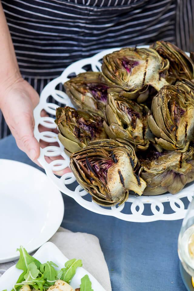 Grilled Artichokes with Pesto Gnocchi