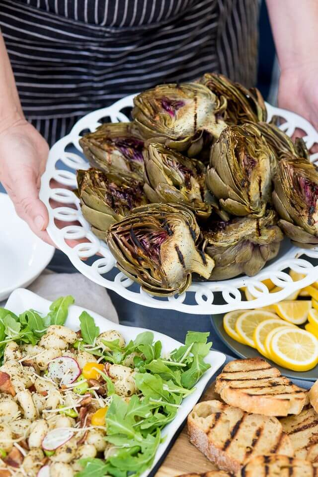 Grilled Artichokes with Pesto Gnocchi