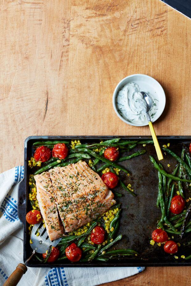 Sheet Pan Salmon Succotash