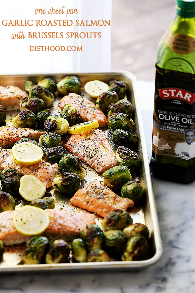 One Pan Roasted Salmon Brussels Sprouts