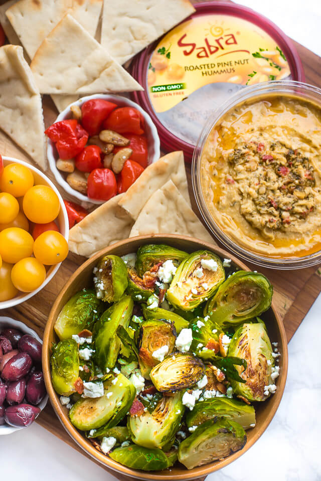 crispy roasted brussels sprouts feta bacon, party food ideas roundup