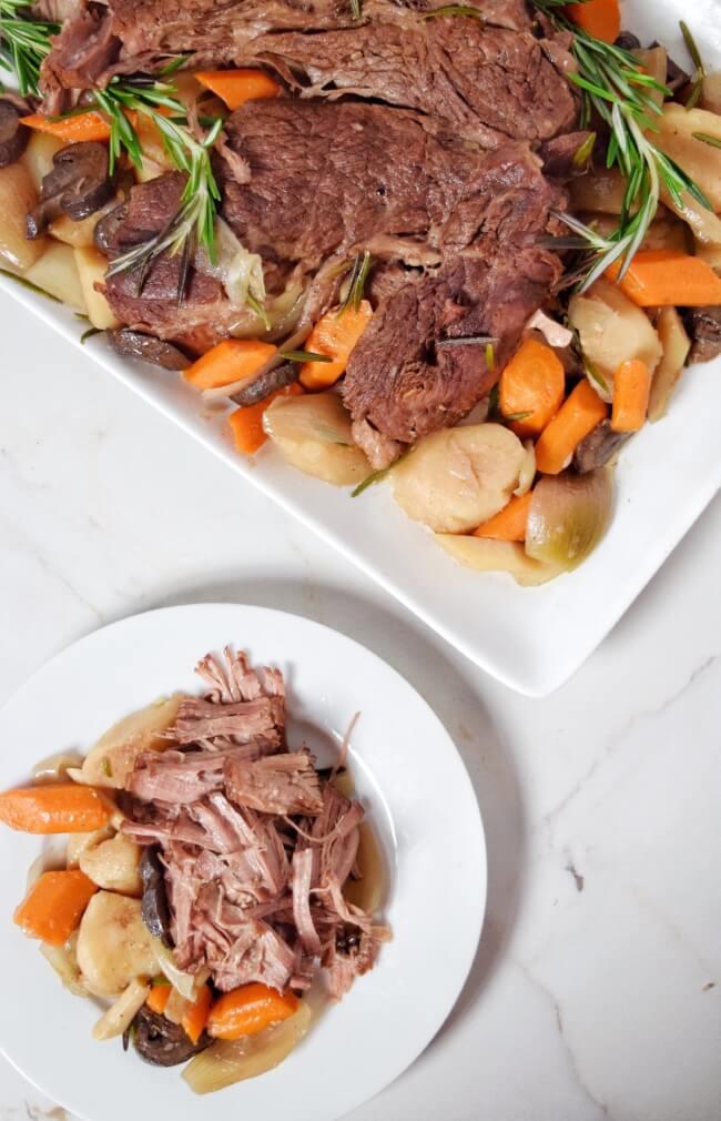 Slow Cooker Rosemary Shallot Pot Roast, beef dinner recipes