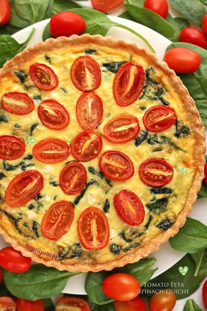 tomato feta spinach quiche