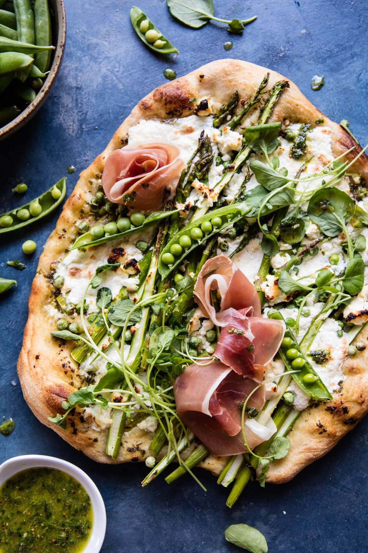 Super Green Pea and Asparagus Pizza