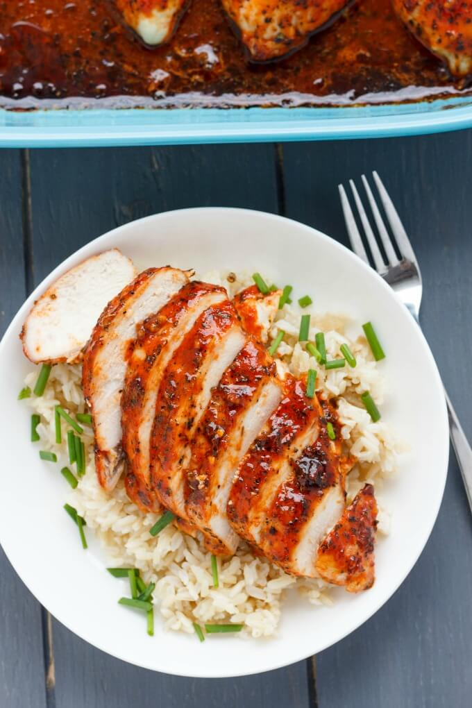 easy chicken breast recipes, chicken breast recipes, sweet sriracha chicken breasts