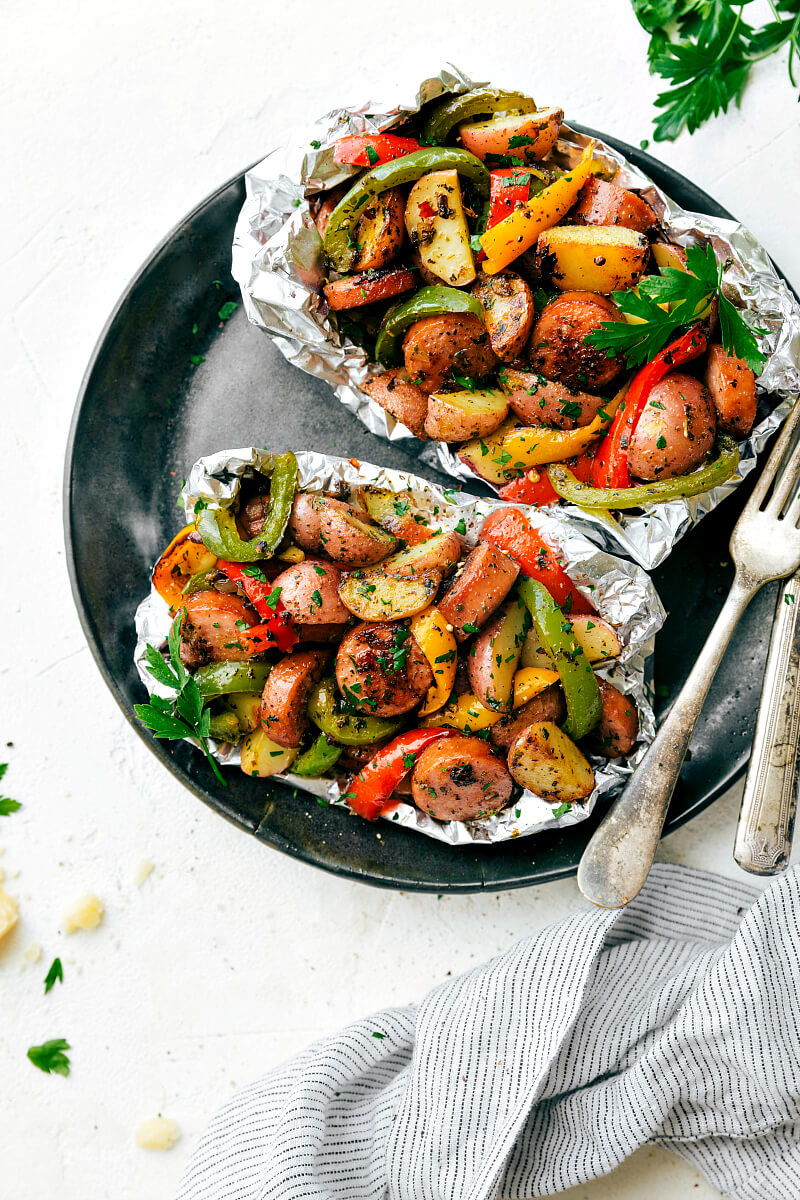 Easy Tin Foil Sausage & Veggies Dinner, 101 Stress Free Camping Food Ideas
