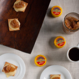 Apple Pie Cheese Bites: Cinnamon sugar pita chips are topped with melty Jarlsberg cheese and smothered with apple pie jam. The perfect last minute appetizer, snack or dessert to keep on hand or take to a party!