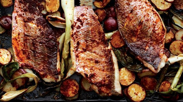 Sheet Pan Snapper Harissa Potatoes
