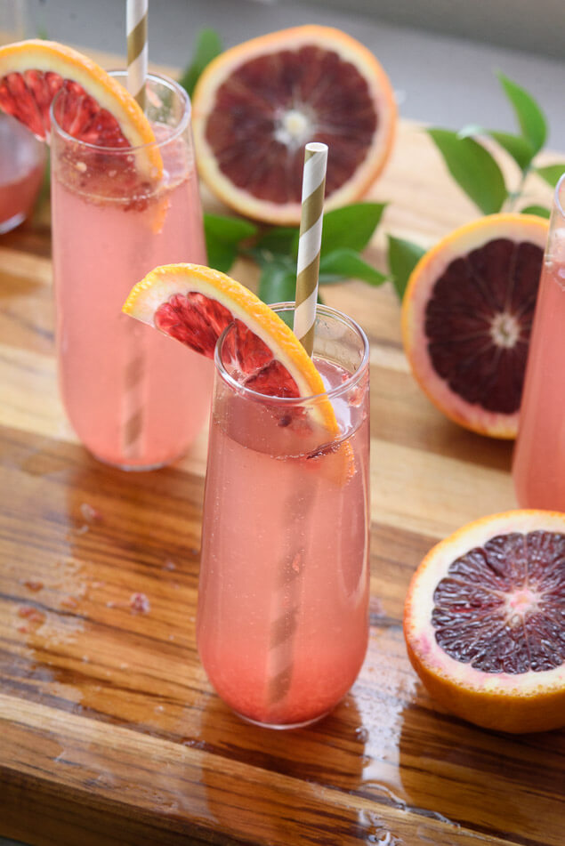 blood orange champagne cocktail, 101 Christmas party food ideas