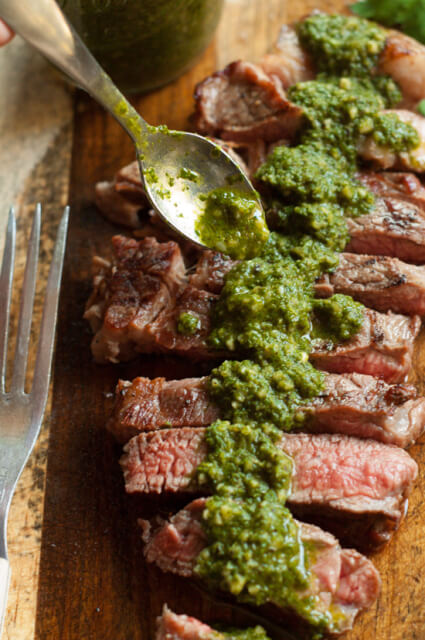 Chimichurri sauce is an easy traditional Argentinian sauce served with barbecued meats. Perfect stirred into soups, spread on grilled cheese or tossed with pasta too!