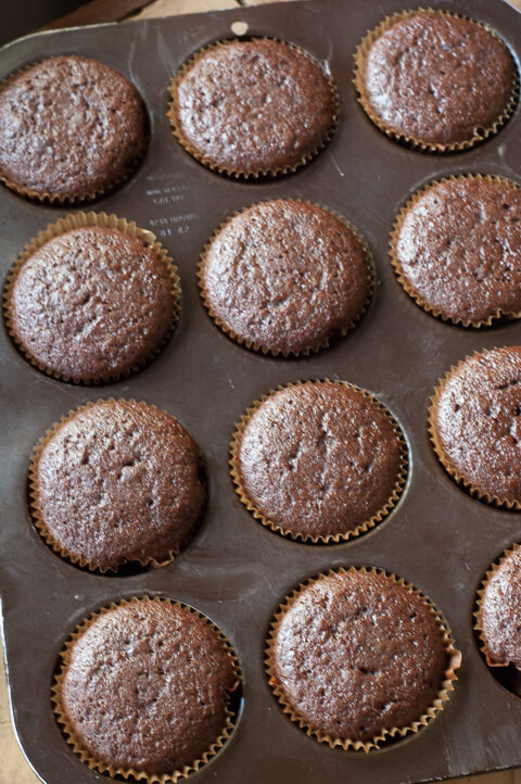 Chocolate Buttermilk Olive Oil Cupcakes: These cupcakes are so easy to make and are light and moist.