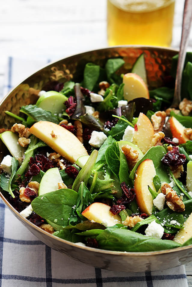 apple cranberry walnut salad, cranberry recipes roundup