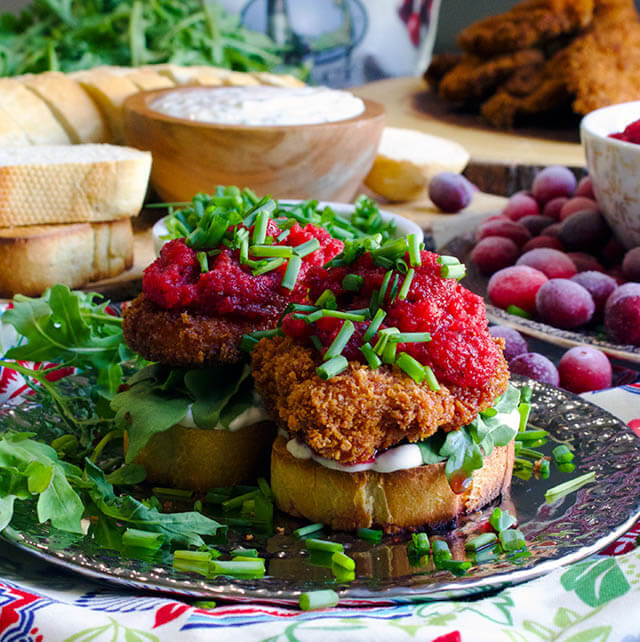 fried chicken sandwich cranberry relish, cranberry recipe roundup