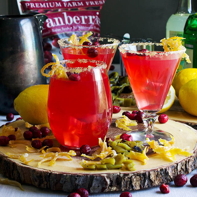 cranberry green chili lemonade cocktail, cranberry recipes roundup