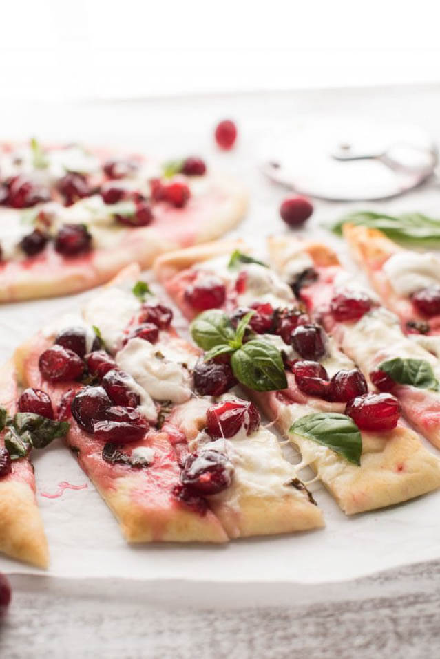 cranberry basil flatbreads with creamy burrata