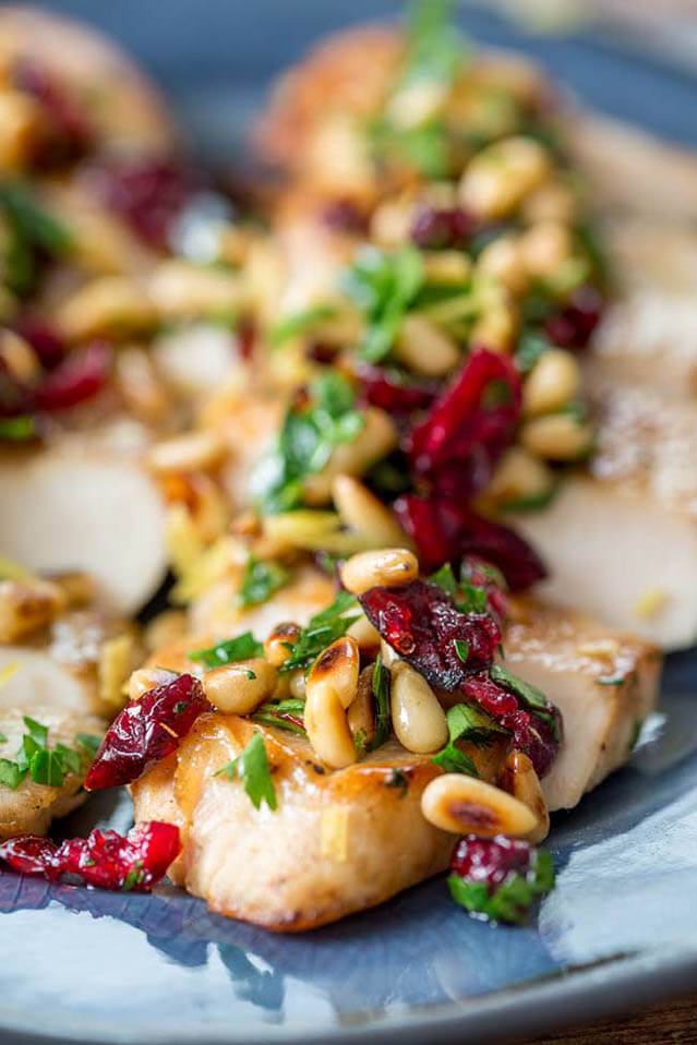 cranberry pine nut parsley chicken, cranberry recipes roundup
