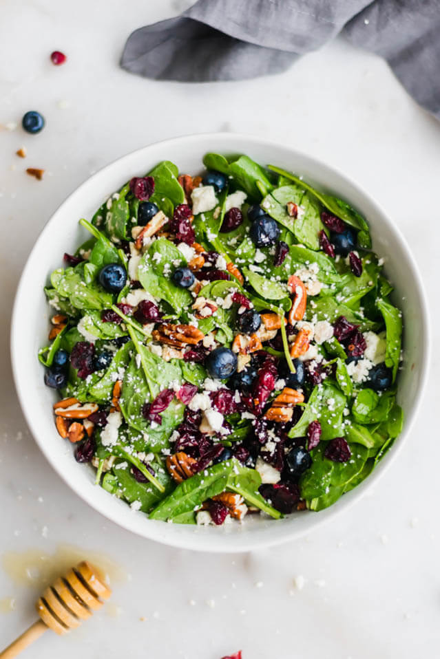 blueberry spinach salad with honey balsamic dressing, cranberry recipes roundup