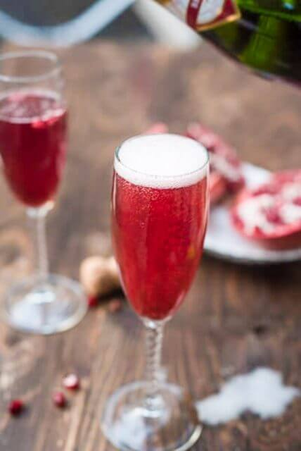 pomegranate champagne cocktail, 101 Christmas party food ideas