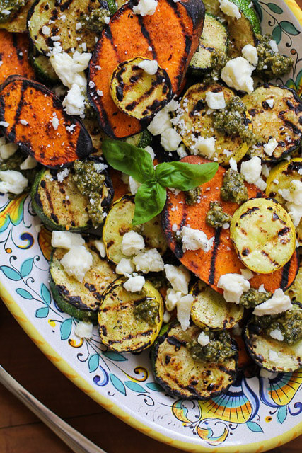grilled_sweet_potato_zucchini_and_yellow_squash_with_pesto_sauce_and_feta