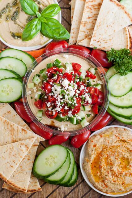 healthy-mediterranean-bruschetta-hummus-platter
