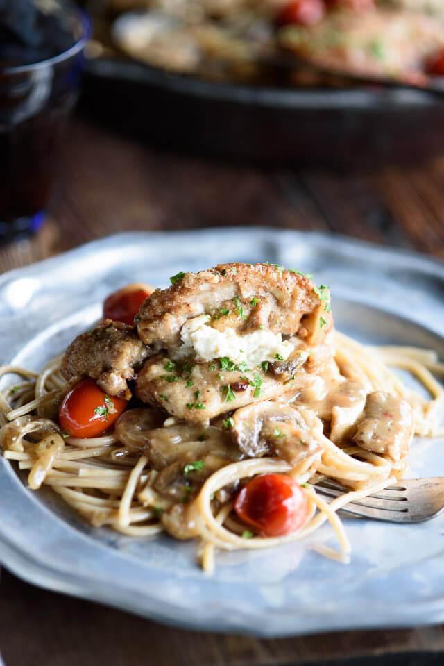 one-pan-stuffed-chicken-marsala-plate