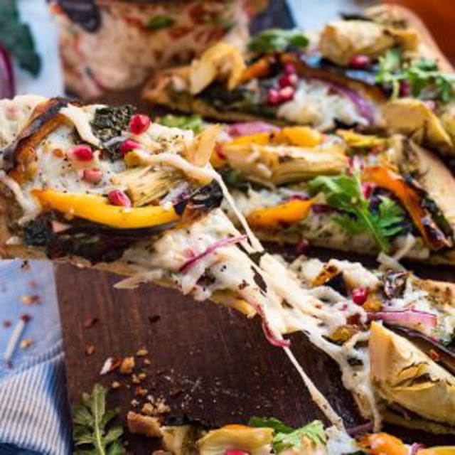 fall harvest vegan pizza, party food ideas roundup