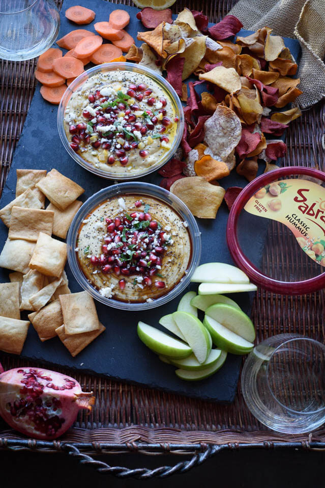 Pomegranate Molasses Preserved Lemon Hummus, party food ideas roundup