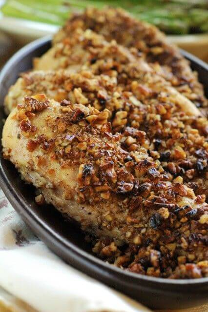 Pecan Crusted Chicken: This quick-and-easy-dinner recipe will have you looking like you've worked all day on dinner! 3 ingredients, under 30 minutes! | www.TheAdventureBite.com