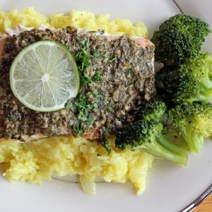 Pesto Lime Salmon with White Wine Risotto