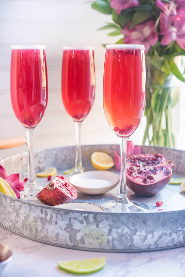 pomegranate champagne margaritas, 101 Christmas party food ideas