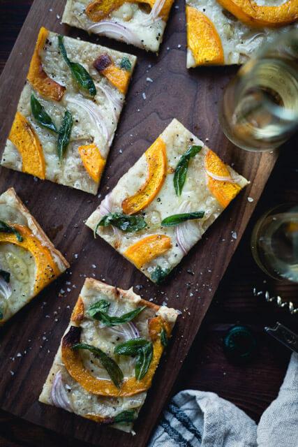 pumpkin-flatbread-pizza-with-gruyere-and-crispy-sage-gluten-free, romantic dinner recipes