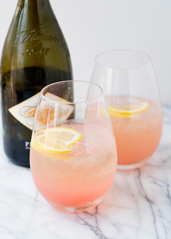 Rhubarb Fizz Champagne Cocktails