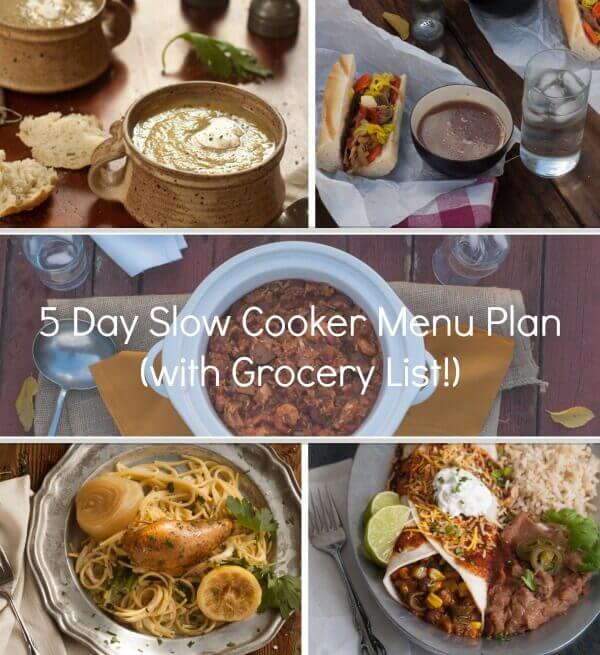 A full 5 day slow cooker menu plan of great family friendly recipes! We include a prep list and a grocery list to save you time all week long!