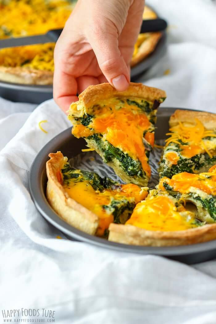 spinach and red onion quiche