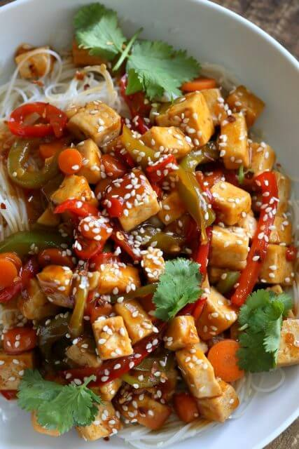 Sticky Ginger Sesame Tofu Veggies, Stir up Your Week with These 25 Amazing Stir Fry Recipes