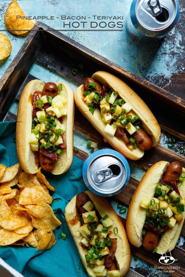 pineapple bacon and teriyaki hot dogs
