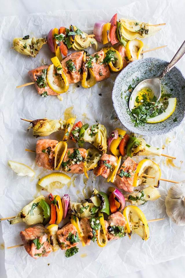 mediterranean salmon and artichoke skewers