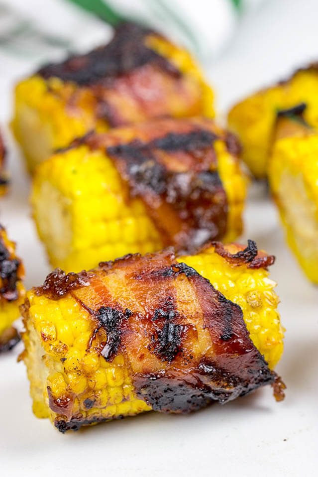 Bacon Wrapped Corn with Honey BBQ Sauce