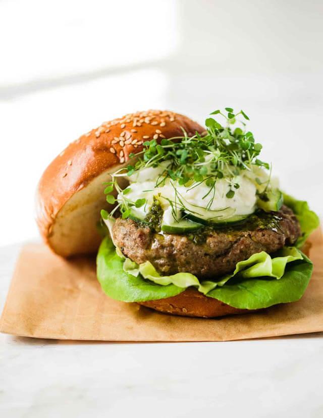 lamb burger with shawarma spice