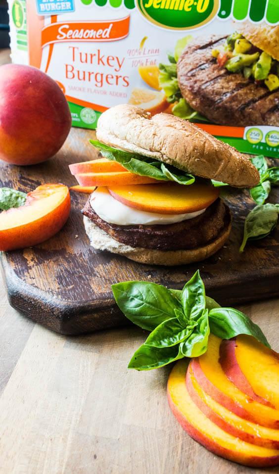 grilled peach basil turkey burger