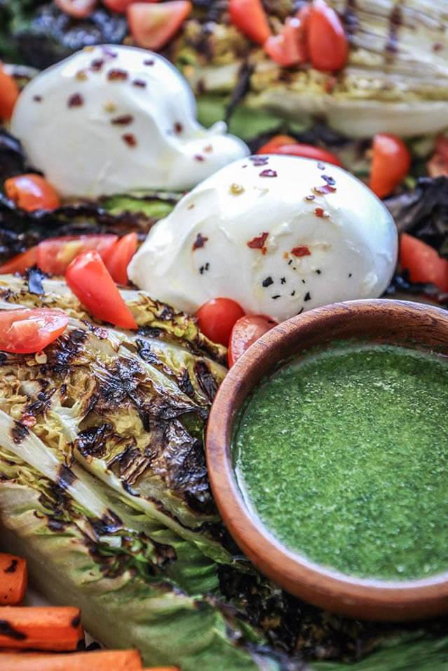 grilled romaine burrata salad