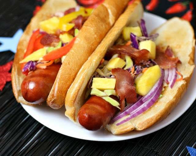 hot dogs with pineapple bacon slaw