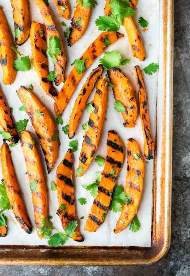 grilled sweet potato fires