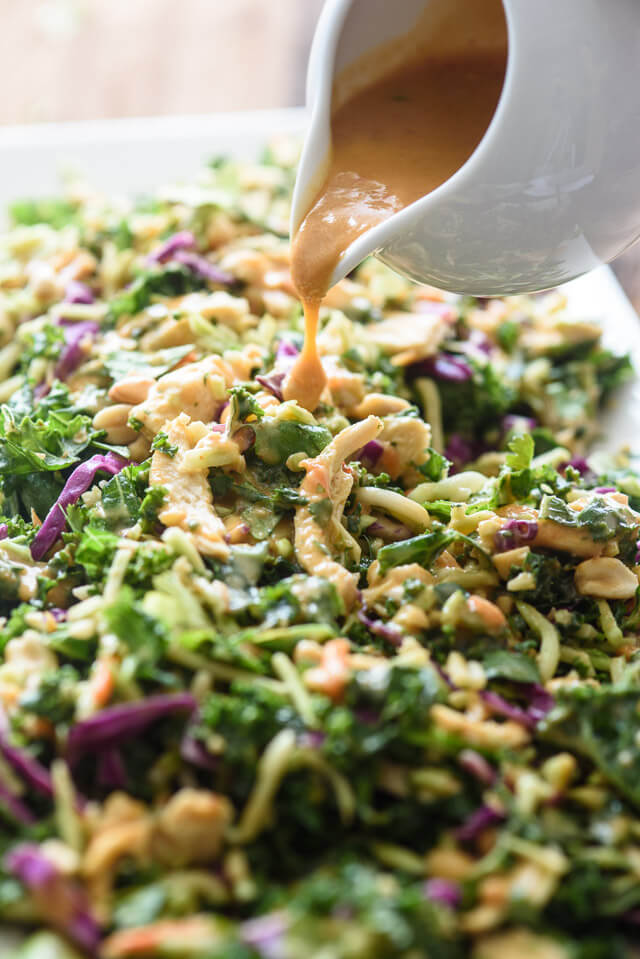 Thai chicken salad with creamy peanut butter dressing