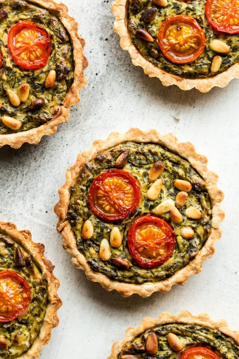 vegan quiche tarts with wild garlic