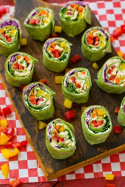 Rainbow Veggie Pinwheels, 101 Stress Free Camping Food Ideas