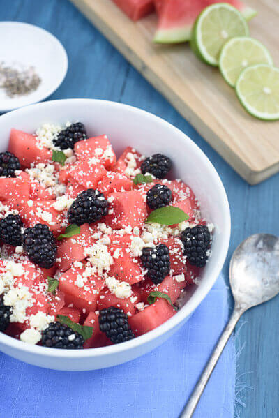 Watermelon salad with blackberries blue cheese