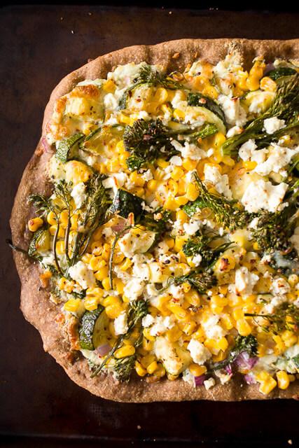 zucchini-corn-feta-pizza
